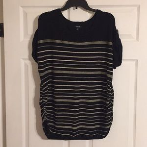 Black and cream striped short sleeve sweater